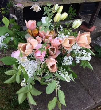 DIY Bucket of Seasonal Blush Wedding Flowers, Spring