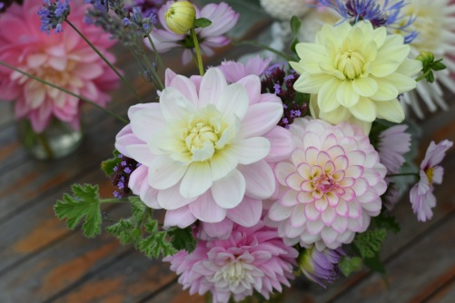 Jam Jar Table Arrangements, British Seasonal Wedding Flowers to do yourself