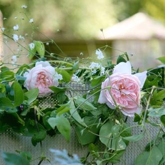 Seasonal Summer Wedding Flowers, Roses and Gyp