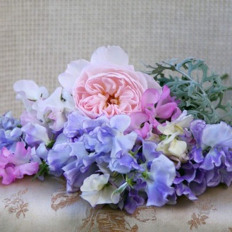 Seasonal Wedding Flowers, British Seasonal Bridal Bouquet of Sweetpeas and David Austin Roses