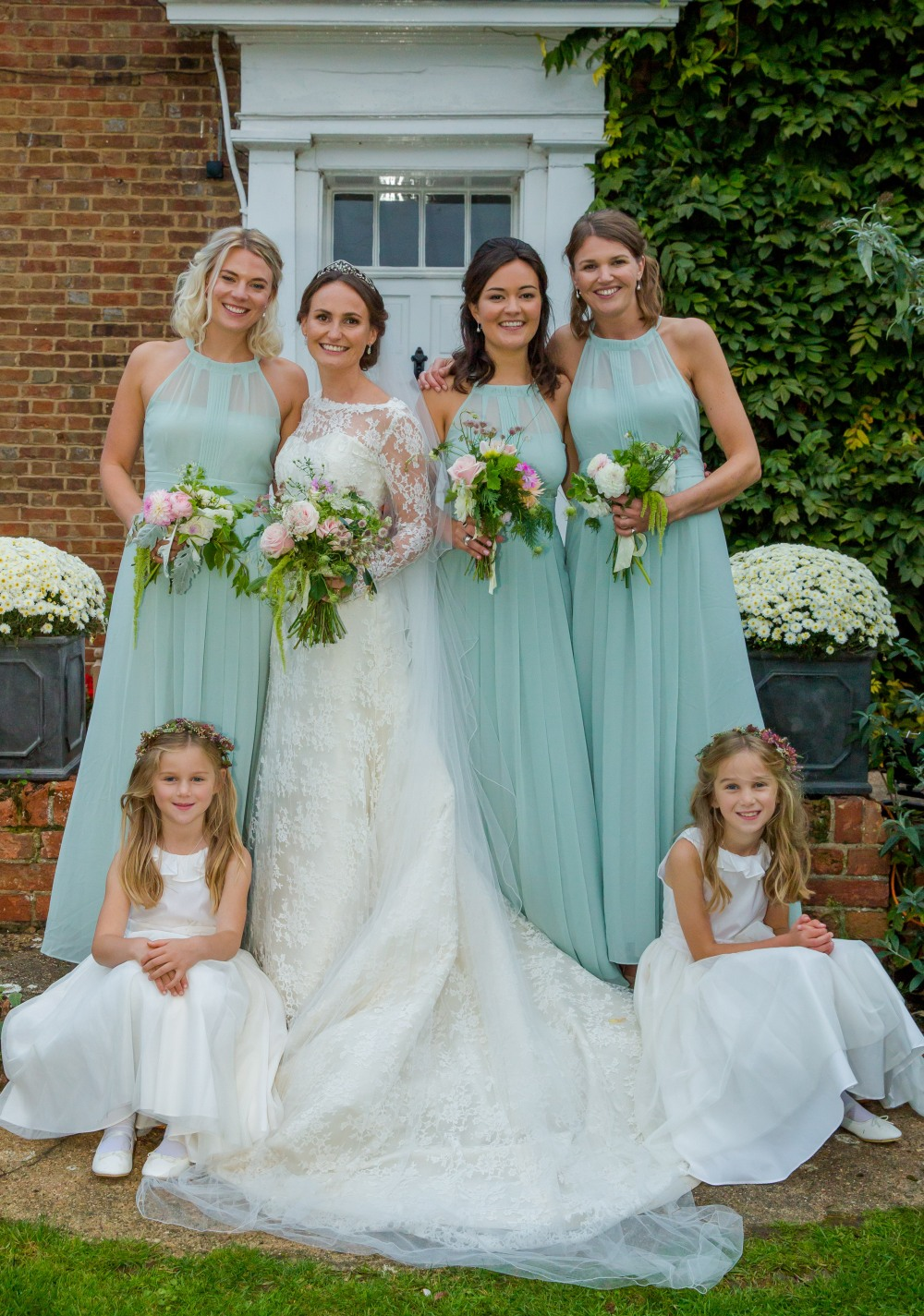 Bride Sophie with her Maids, Garden Gathered Seasonal British Flowers grown with love from Swan Cottage....