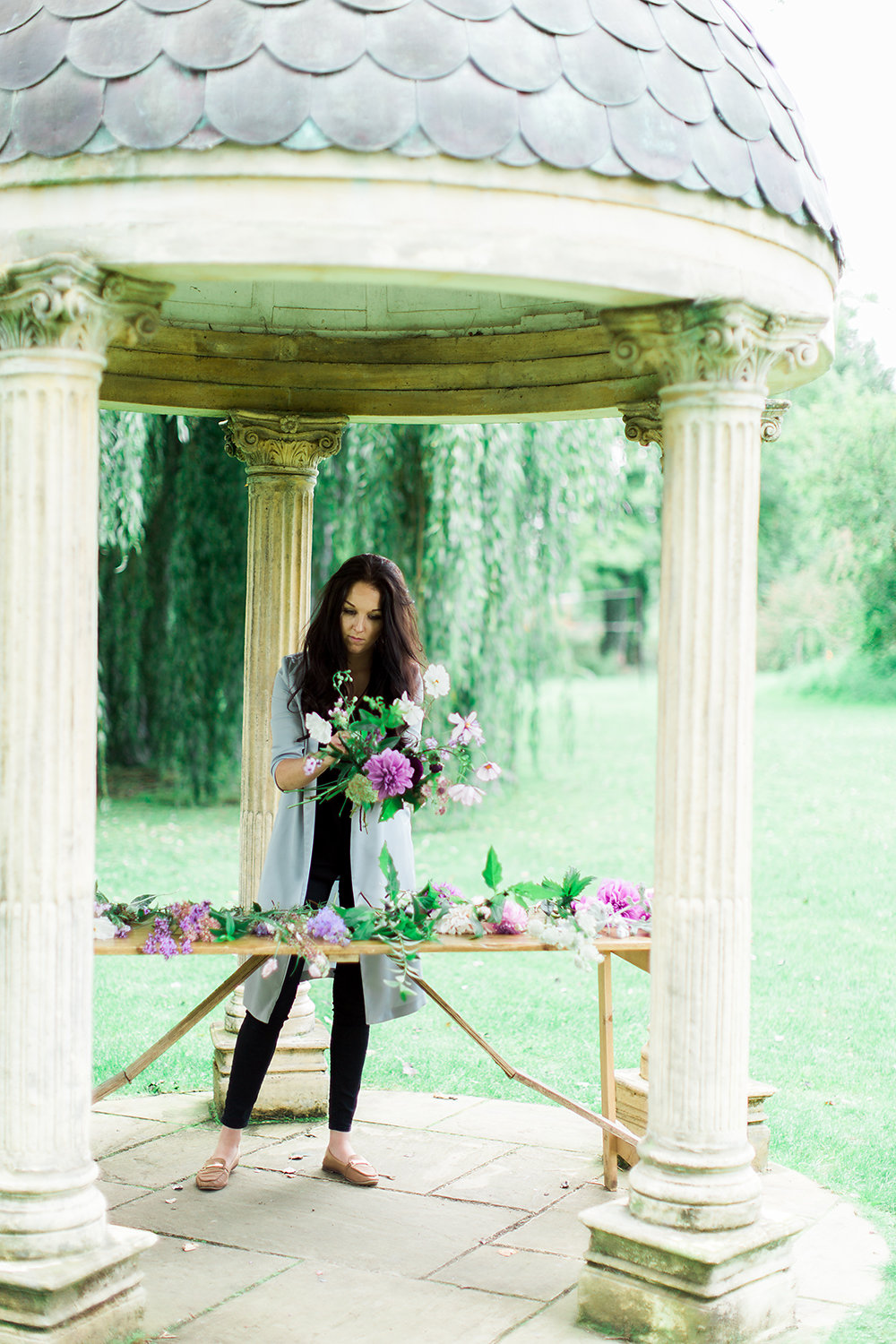 Alexandra Rose in the Wedding Temple at the Old Swan and Minster Mill creating with Swan Cottage British Flowers