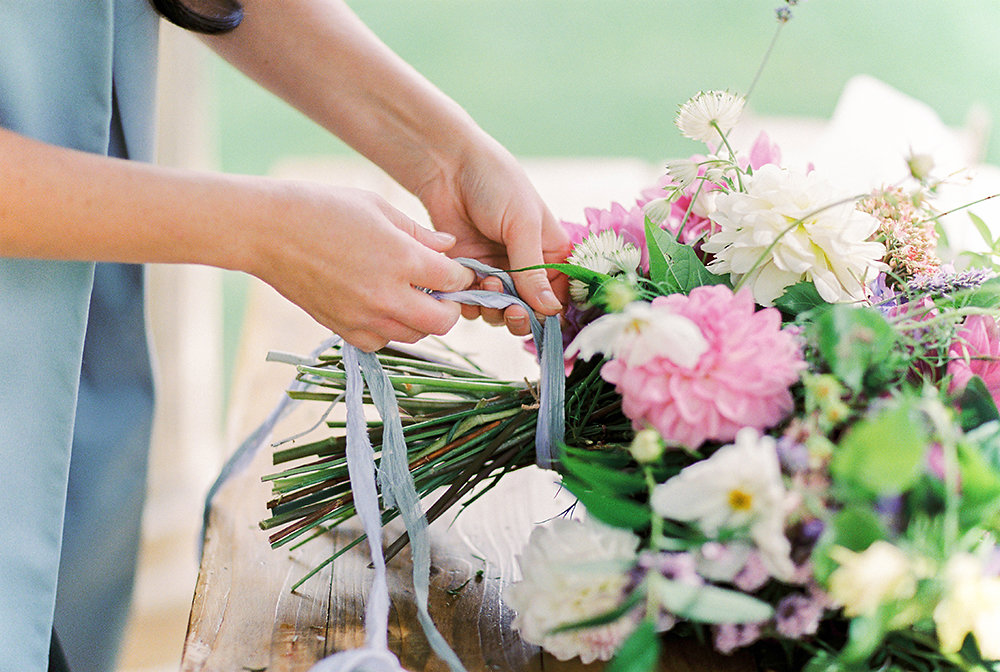 British Flowers, Alexandra Rose ties her ribbons from Silk and Purl