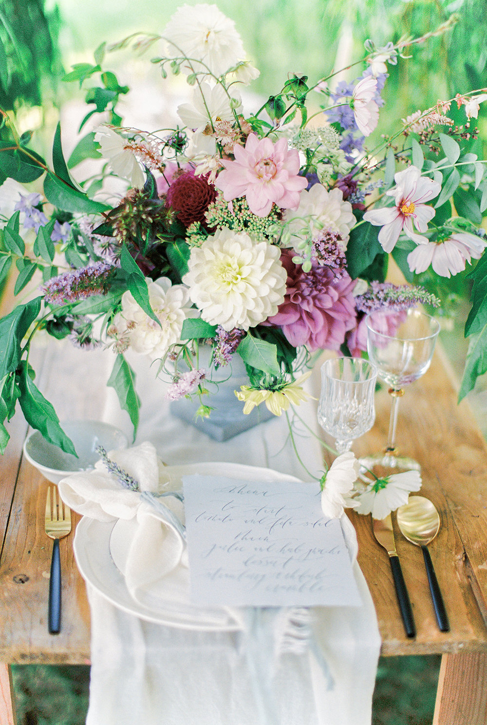 British Flowers and Calligraphy