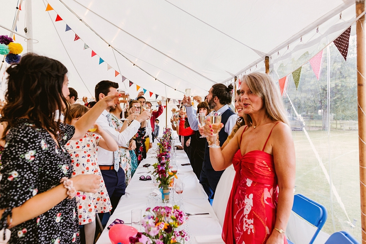 Toasting the Bride and Groom, Real DIY Weddings, colourful handmade table arrangements