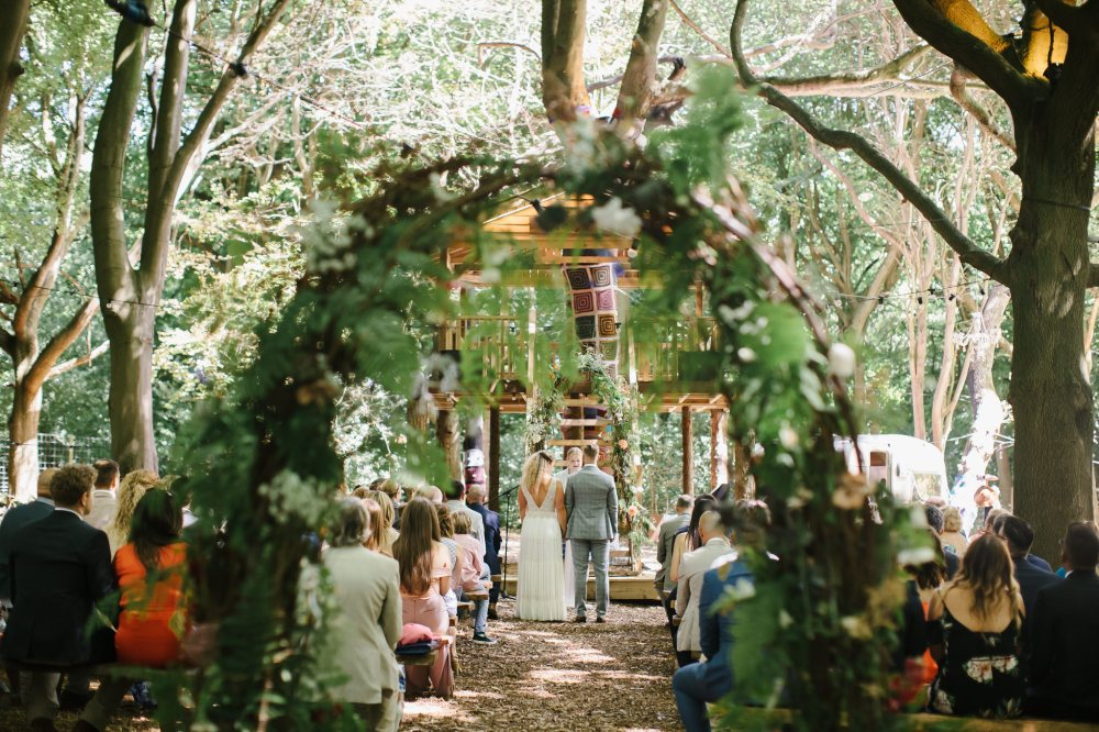Swan Cottage Flowers at the Magical Woodland Wedding, Lilas Wood, Tring, Photography Chris Barber