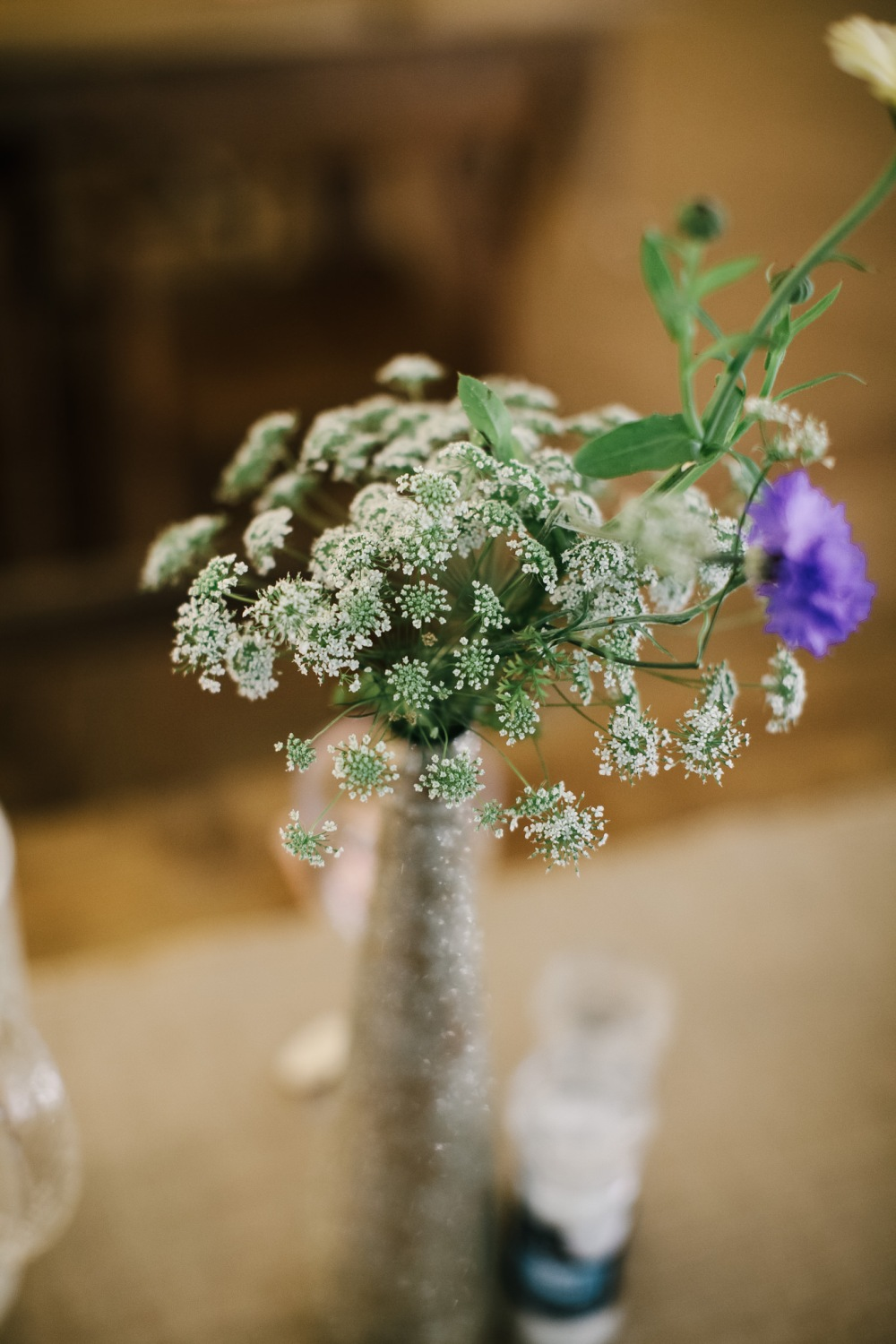 Claire and Tom, Mum's handmade table arrangements, Real DIY Weddings, Swan Cottage Flowers at Woodland Weddings
