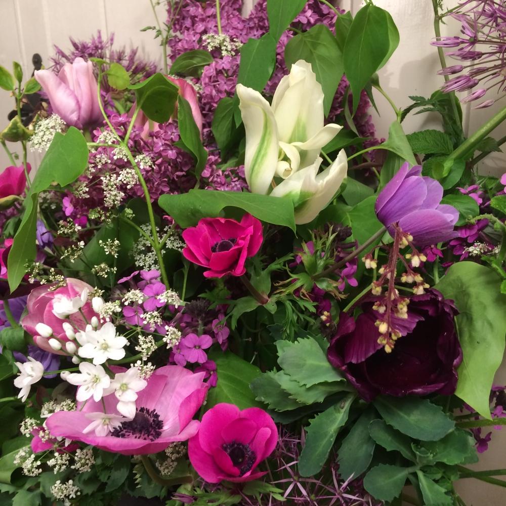 Bright British Flowers, Anemones, Tulips, Lilac, Cow Parsley, Alliums, Sedum