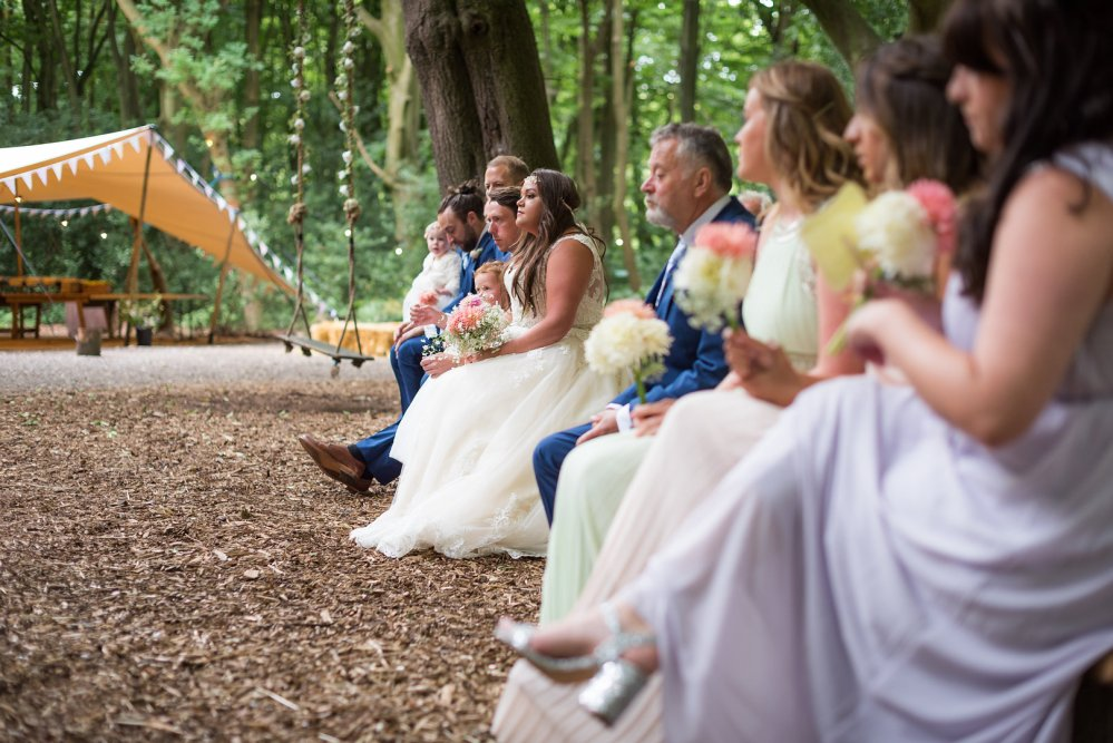 The Bridal Party in the Woodland Clearing with a open stretch tent, a mid summers night dream