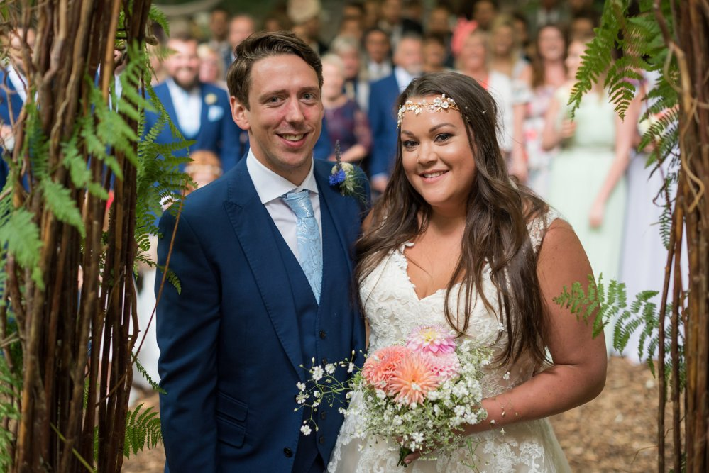 The Bride and Groom, Kelly and Tommy with their DIY British Seasonal Bridal Bouquets and Buttonhole