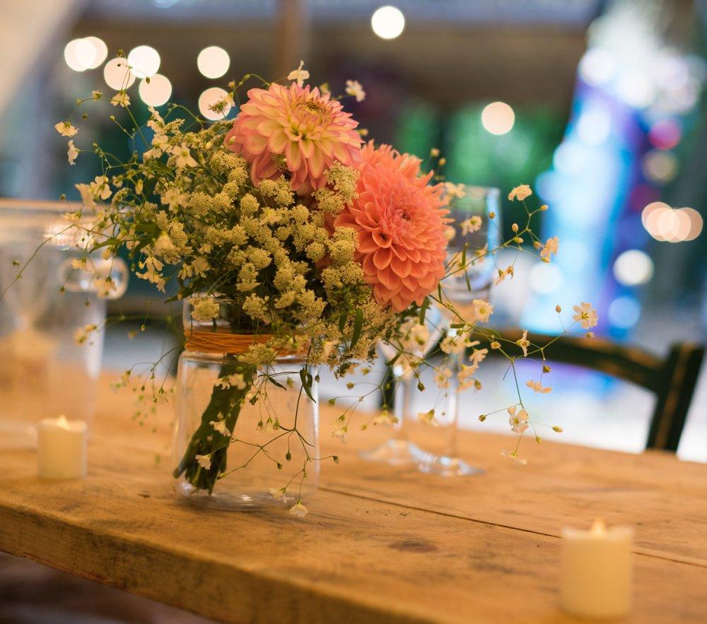 A Brides bouquet doubles as a table arrangement!
