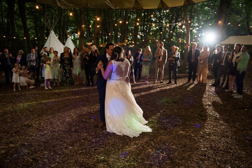 The first dance as man and wife. As night falls the venue comes alive with twinkling fairy lights, uplighted trees, and the crackling of enclosed fire pits. The woodland takes on an entirely new magic.