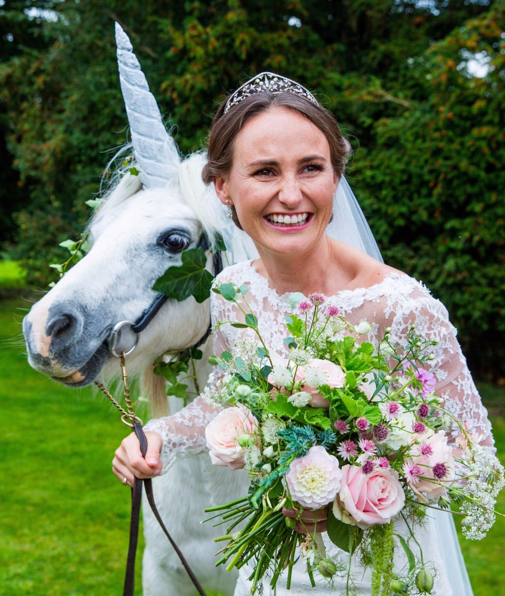A Unicorn! Beautiful Sophie on her Wedding Day with Flowers from Swan Cottage