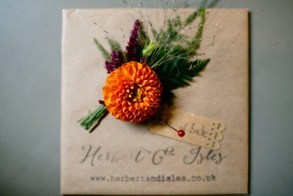 Buttonholes, Florists Herbert and Isles use Swan Cottage Flowers for the Wedding of Sophie and Richard