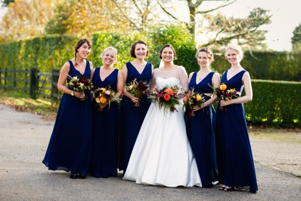 Bride and her Maids, Florists Herbert and Isles use Swan Cottage Flowers for the Wedding of Sophie and Richard