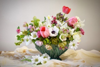 Spring Table Arrangement of Local Seasonal Flowers from Swan cottage, Tulips and Anemones