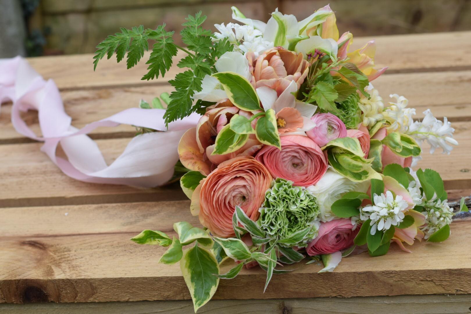British Spring Seasonal Blush Bouquet Flowers From The Farm Swan