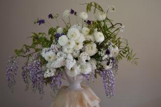 Wisteria Table Arrangement, Swan Cottage Flowers, British Seasonal Blooms