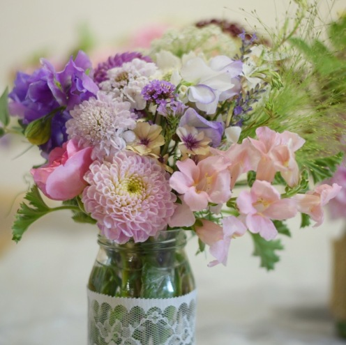 Jam Jar Flowers for Weddings and Events, Swan Cottage Flowers